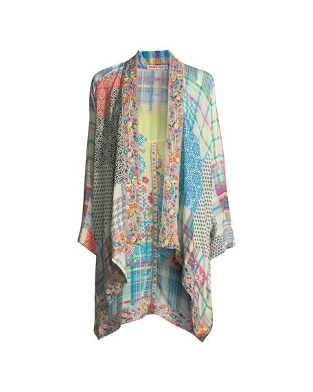 Solomio Georgette Caftan w/ Embroidered Trim, Plus Size