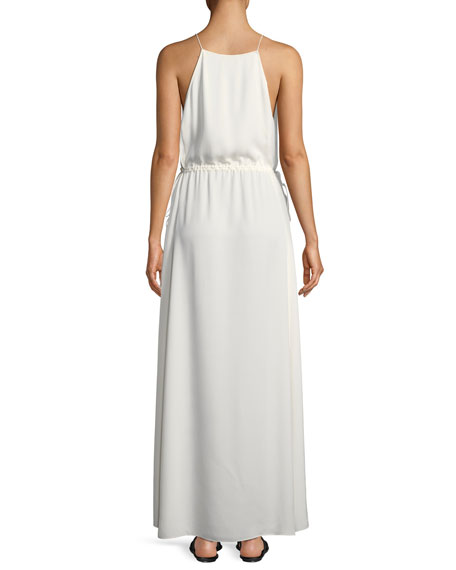 Relaxed Modern Georgette Maxi V-Neck Dress