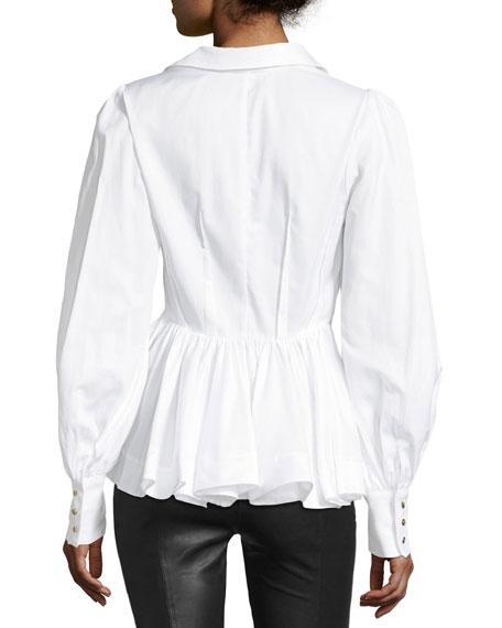 Waverly Button-Front Blouson-Sleeve Cotton Shirt