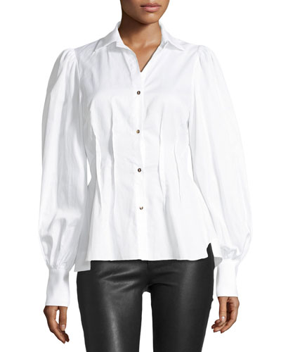 Waverly Button-Front Blouson-Sleeve Cotton Shirt