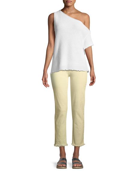 PAIGE Hoxton Mid-Rise Straight-Leg Ankle Jeans w/ Fray Hem