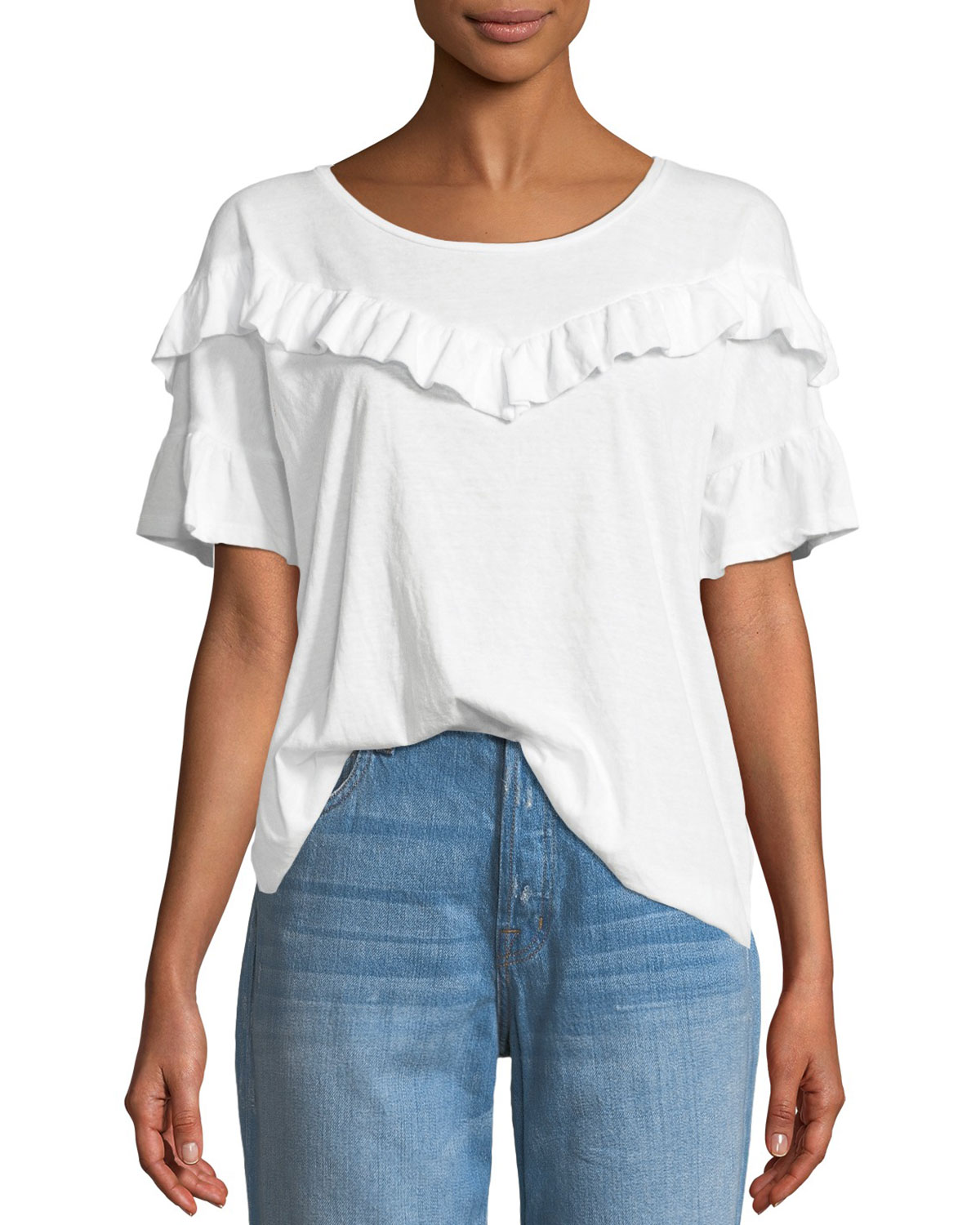 b5239f4737 PAIGE Adalie Ruffle Short-Sleeve Top