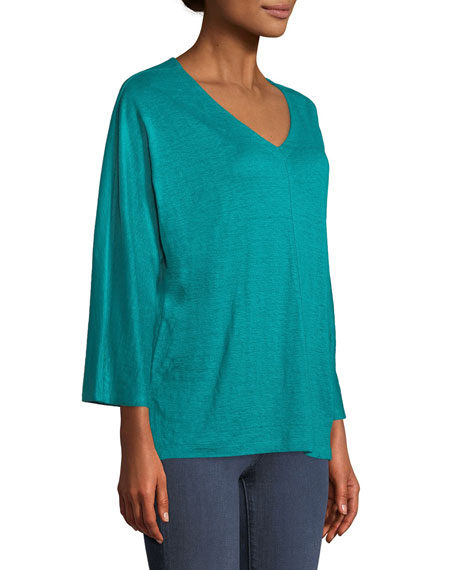 Linen Jersey V-Neck Top, Plus Size