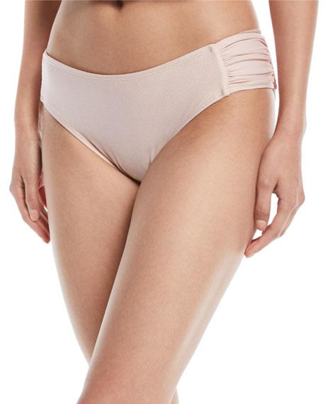 Good Karma Chopra Metallic-Dot Shirred Swim Bikini Bottom