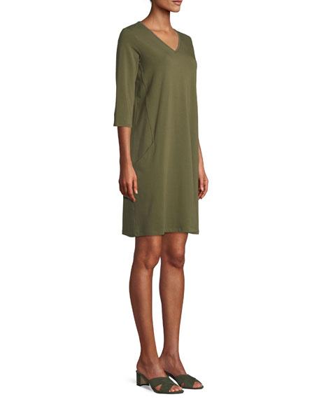 3/4-Sleeve V-Neck Jersey Shift Dress
