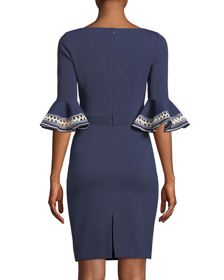 Embroidered Ruffle-Sleeve Sheath Dress