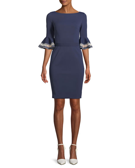 Embroidered Ruffle-Sleeve Sheath Dress