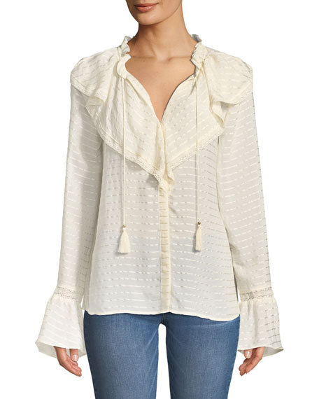 Silvette Ruffled-Neck Bell-Sleeve Striped Blouse