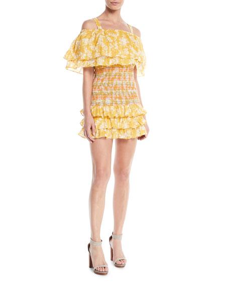 Roma Smocked Floral Ruffle Dress