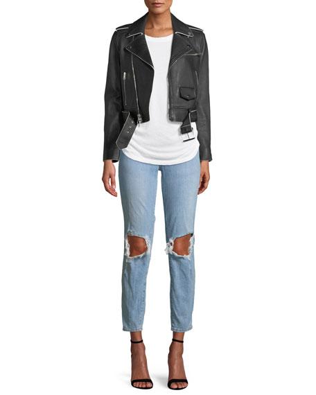 The Fling Ripped-Knee Denim Jeans, Light Blue