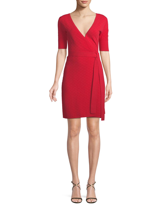 4534487e16c Diane von Furstenberg Shot-Sleeve Sweater Wrap Dress