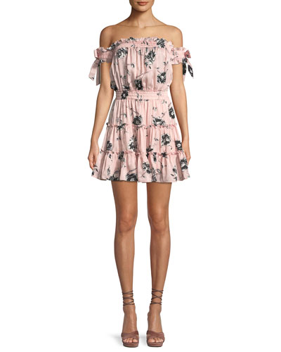 Laiyin Floral-Print Off-the-Shoulder Ruffle Dress