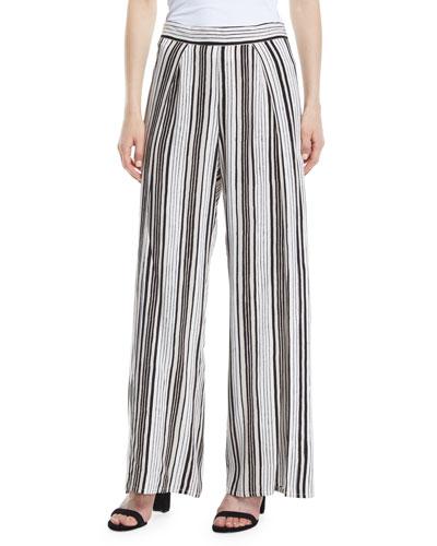 Avah Striped Split Wide-Leg Pants
