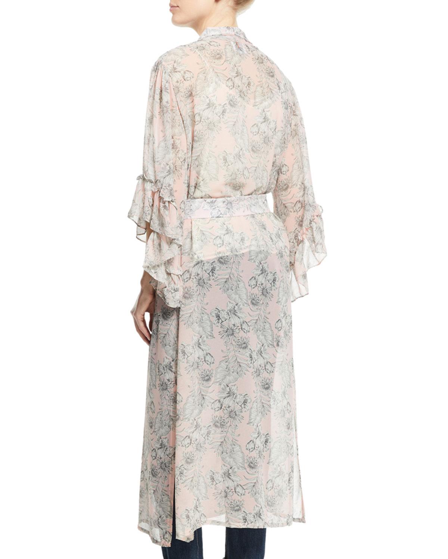 ca0f5990 Amina Open-Front Floral-Print Kimono Jacket