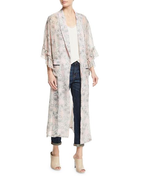 MISA Los Angeles Amina Open-Front Floral-Print Kimono Jacket