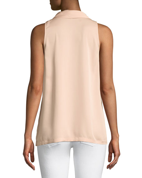 Scarf-Neck Sleeveless Silk Blouse