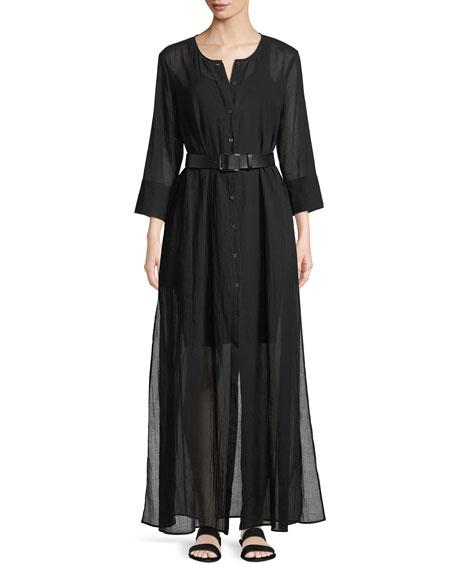 Weekend Button-Down Summer Cotton Maxi Dress