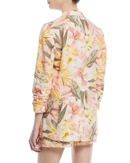 Kishina Printed One-Button Linen Blazer