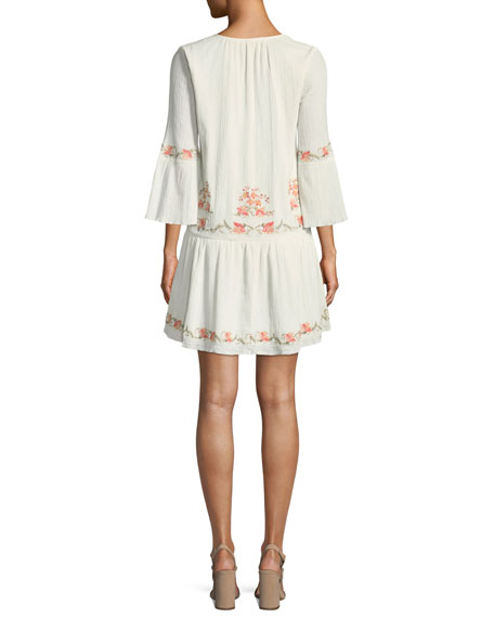 Jarette Embroidered 3/4-Sleeve Mini Dress