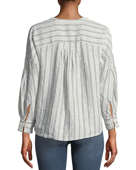 Bekette Striped Linen Button-Front Top