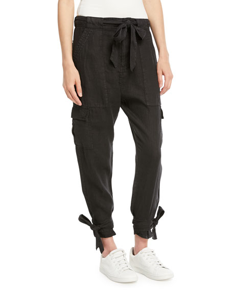 Joie Erlette Cropped Linen Cargo Pants and Matching