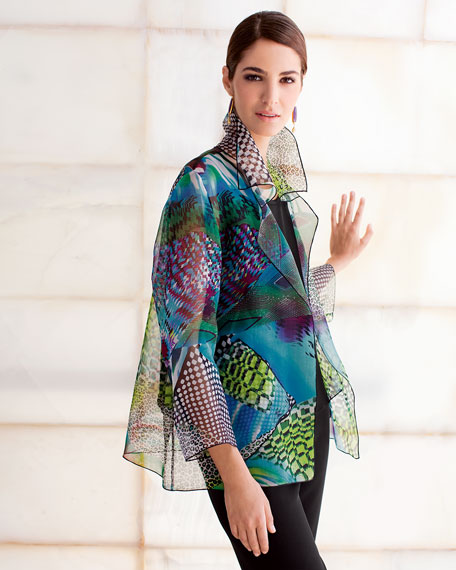 Patchwork Easy Shirt/Jacket, Plus Size