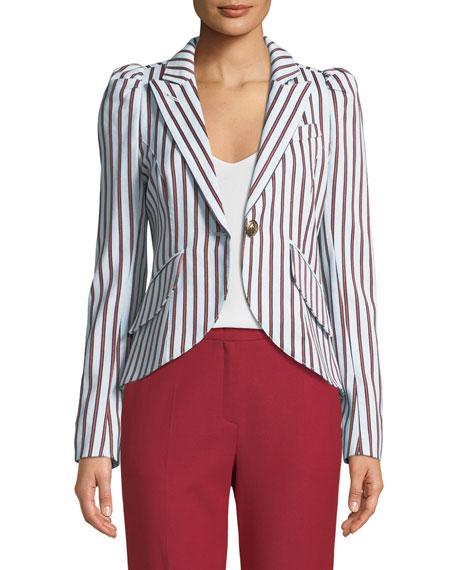 Smythe Striped Pouf-Sleeve One-Button Blazer