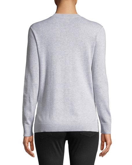 French Bulldog Patchwork Intarsia Sweater, Plus Size