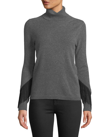Neiman Marcus Cashmere Collection Cashmere Fringe-Trim Turtleneck