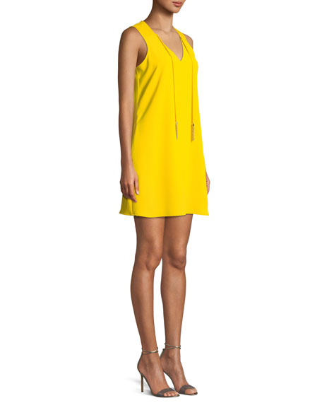 Arleen Mini Dress w/ Self-Tie Neck