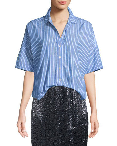 Selsie Short-Sleeve Button-Down Top