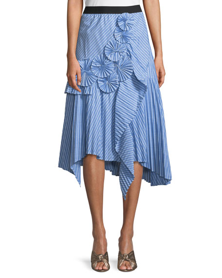 Joie Edericka Striped Pleated Applique Midi Skirt