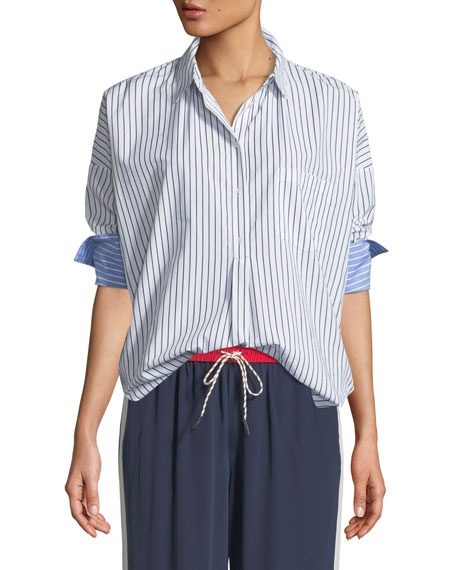 Selinde Striped Button-Front Top