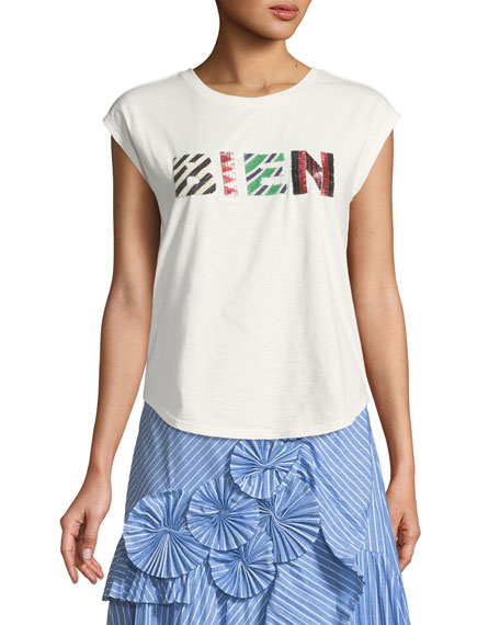 "Lianty ""BIEN"" Beaded Cap-Sleeve Tee"