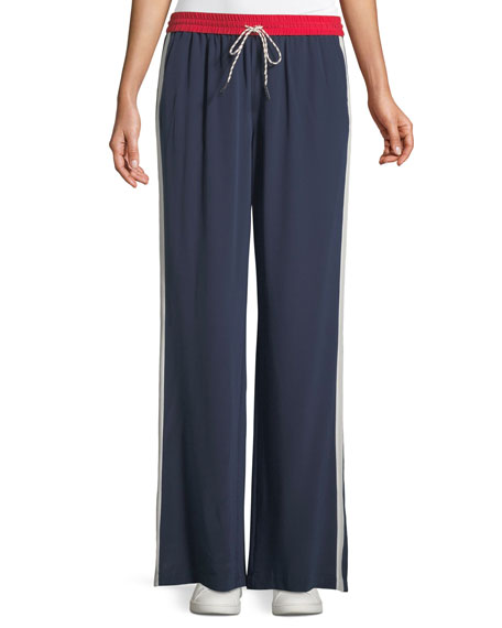 Perlyn Side-Stripe Silk Track Pants