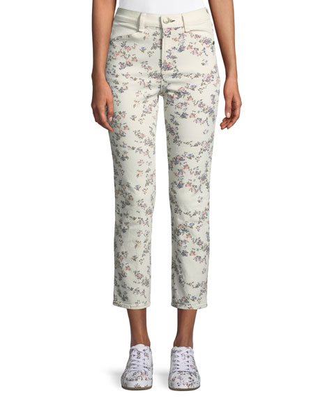 Rag & Bone Ellie Floral Cropped Straight-Leg Jeans