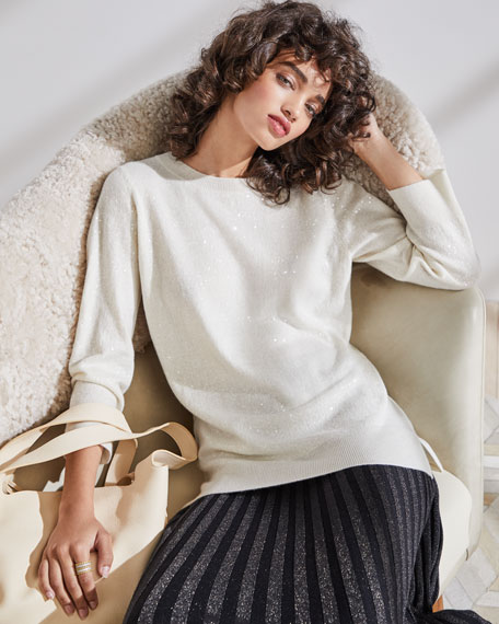 Cashmere Sequined Crewneck Sweater