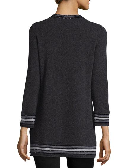 Bead-Trim Cashmere Sweater