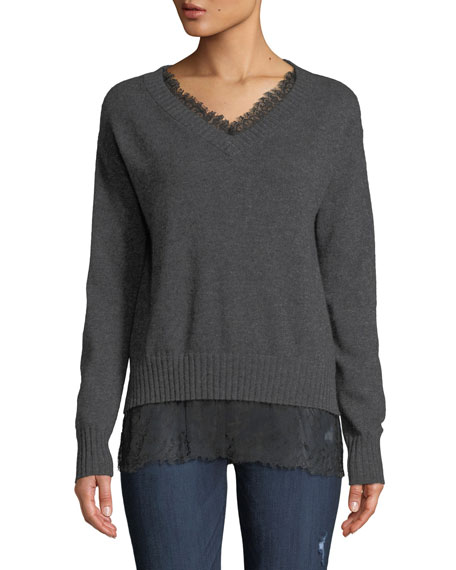 Neiman Marcus Cashmere Collection Lace-Trim Cashmere V-Neck