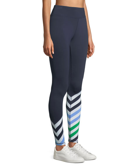 Striped Full-Length Performance Leggings