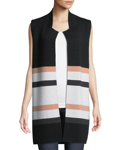 Striped Open-Front Cashmere Vest