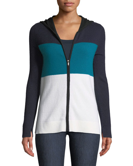 Neiman Marcus Cashmere Collection Cashmere Striped Zip-Front