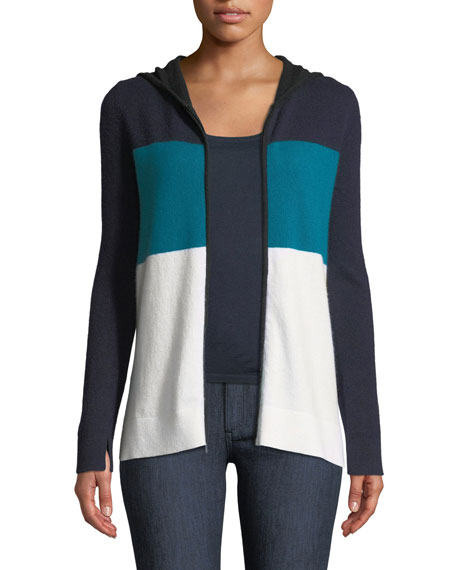 Cashmere Striped Zip-Front Hoodie