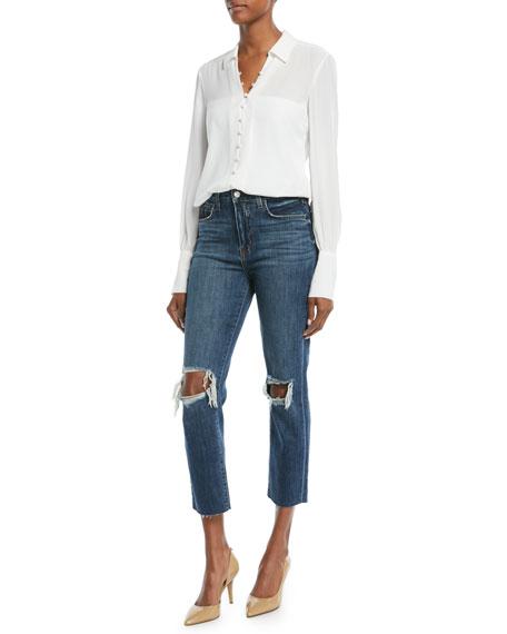 Audrina Worn Destructed-Knee Crop Straight-Leg Jeans