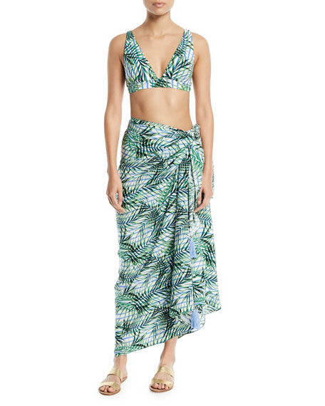 Red Carter Palm Party Printed Wrap Sarong Coverup
