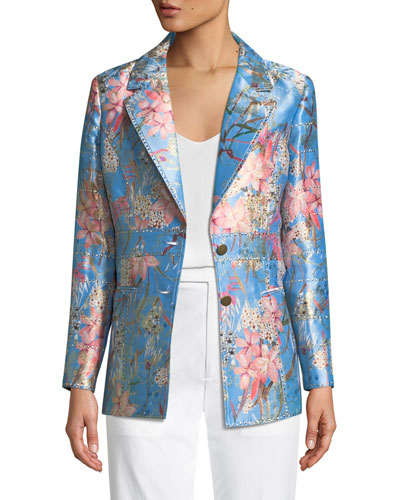 Cherry Blossom Jacquard Jacket, Plus Size