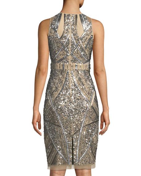 Sleeveless Geometric Beaded Sheath Cocktail Dress