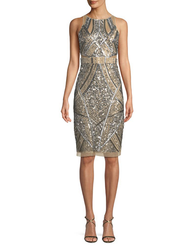 Sleeveless Geometric Beaded Sheath Cocktail Dress