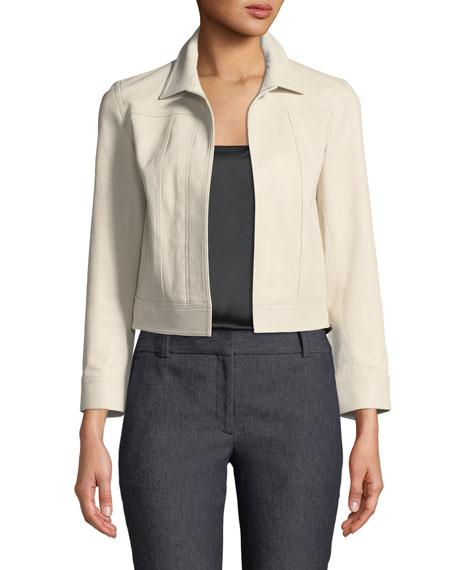 Shrunken Open-Front Lamb Leather Jacket