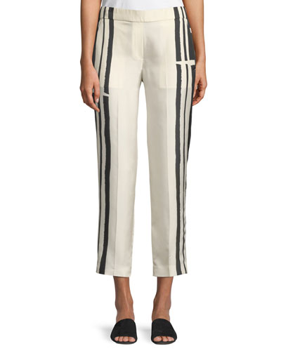 Striped Silk Pull-On Trousers